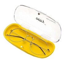 Portable Clear Transparent Shell Eye Glasses Sunglasses Case  Yellow bottom - $17.16