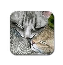 Rubber coasters set of 4, Cat 505 kitten cute art by L.Dumas - $10.99