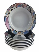 Vintage 1993 Sakura Tango Art Deco Dancers Border China Soup Bowls Set of 7 - $84.11