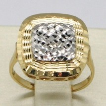 18K Yellow & White Gold Band Ring Finely Worked Square Central, Made In Italy - $297.16