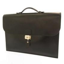 HERMES Sac A Depeches Box Calf Leather Black Mens Briefcase France #E - $1,885.75