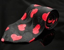 "Addiction 100% Silk Black Red Hearts Necktie True Love 57.5"" Length - $13.49"