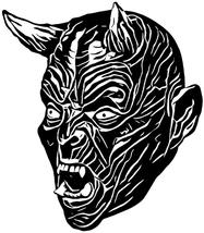 creepy devil head Demon Lucifer silhouette printable art clipart svg vec... - $3.50