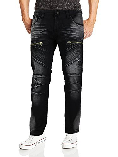 Contender Men's Moto Quilted Zip Distressed Ripped Denim Jeans (42W x 32L, 9FT23