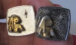 Vintage Egyptian Pharaoh Cuff Links with rhinestone Silver tone 1950's - $50.00