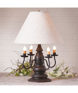 """3-Way COLONIAL TABLE LAMP & 17"""" Ivory Linen Shade - Distressed Black Fin... - $384.95"""