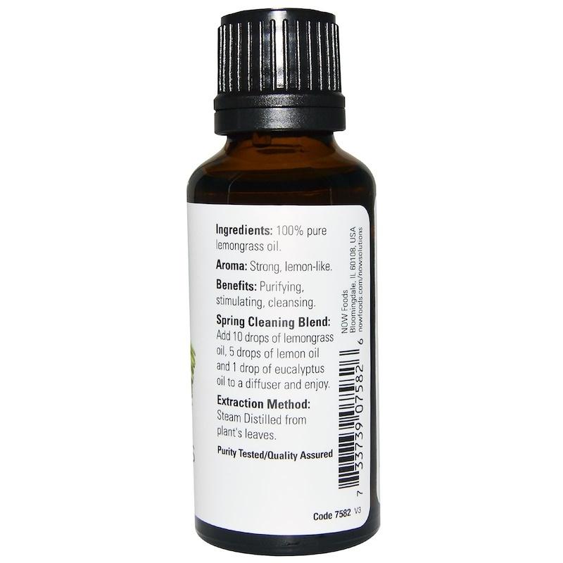 Now Foods, Essential Oils, Lemongrass, 4 fl oz (118 ml)  Aromatherapy