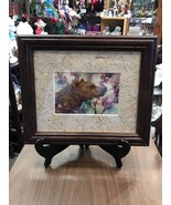 Wall hanging Wooden Frame Glass Front Bear In The Woods - $26.94