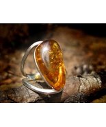 Haunted Rare Golden Dragon Male Amber sterling ring - $233.33