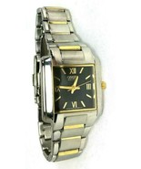 Citizen Women's Small Square Face Watch Two-Tone Silver Gold – Eco Drive... - $38.79