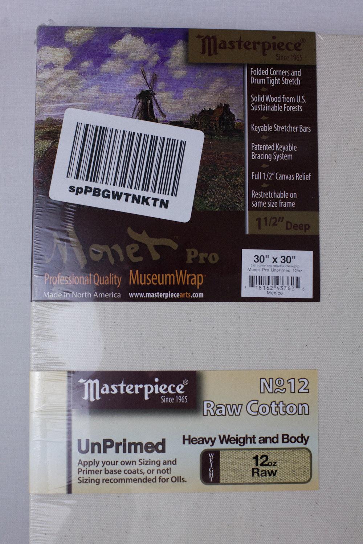 "Masterpiece Monet PRO Art Canvas 30"" x 30"" Raw Cotton 12oz UnPrimed 1-1/2"" Deep"