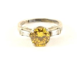 Vintage Silver Yellow Shiny Crystal Cocktail Design Ring 925 Sterling RG... - $25.99