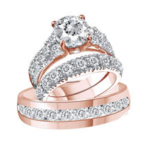 925 Sterling Solid Silver Metal Mens & Womens Wedding Lab Diamond Trio Ring Set - $154.99