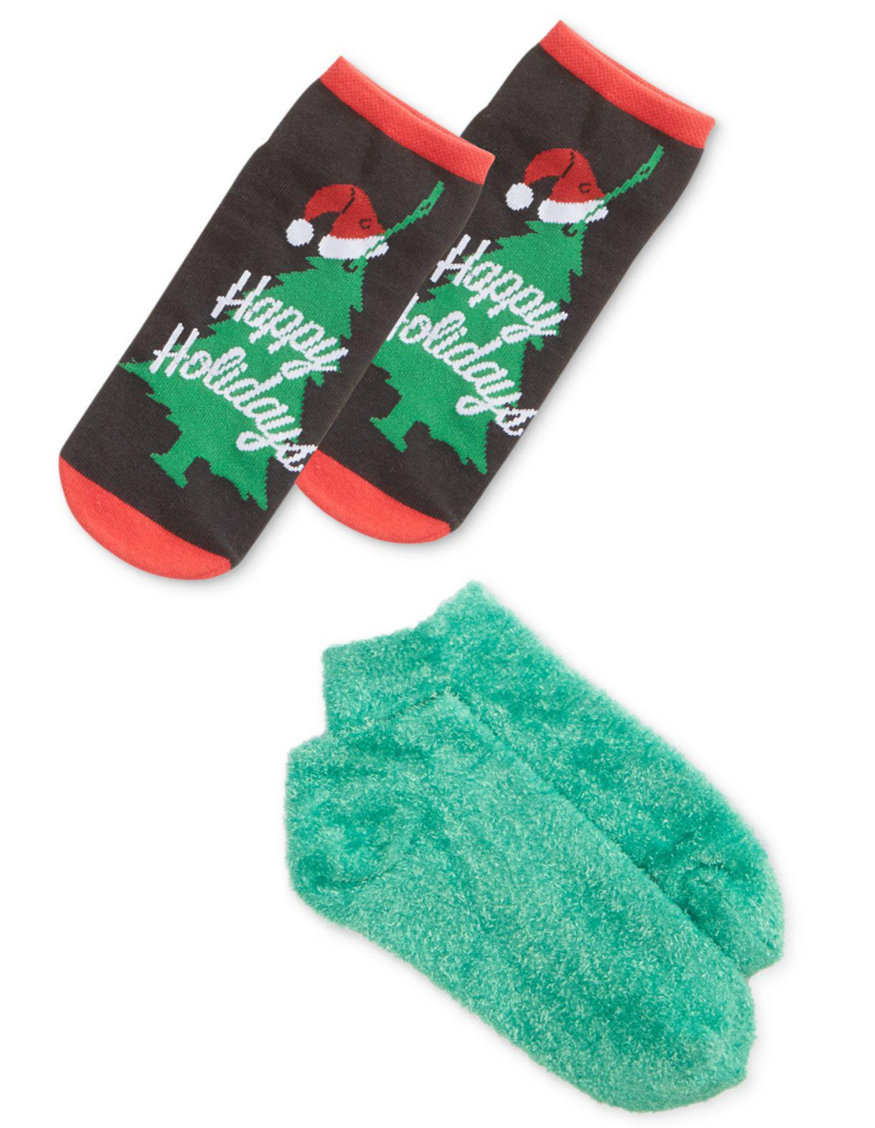 HUE 2-pack Footsie Socks Gift Box Happy Holidays