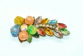 Pastel Confetti Bead Glass Rhinestone Leaf Flower Gold Tone Brooch Pin - $34.64