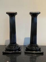 Vintage Cambridge Glass Ebony Doric Column Candlesticks - $225.00