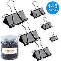 AUSTOR 145 PCS Binder Clips Black Paper Clamps Assorted 6 Sizes Paper Cl... - £12.98 GBP