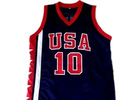 Mike Bibby #10 Team USA Basketball Jersey New Sewn Navy Blue Any Size image 3