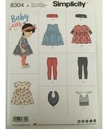 Simplicity Sewing Pattern 8304 Baby Leggings Top Dress Bibs Headband Sz XXS-L UC - $5.99