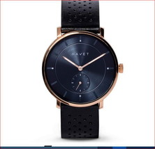 HAVET Watch/Rose Gold w/Black Leather Band...All STAINLESS STEEL 3ATM St... - $39.00