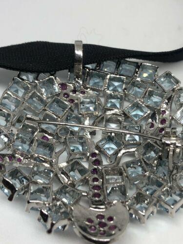 Vintage Aquamarine Ruby Necklace 925 Sterling Silver Choker brooch