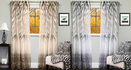 "Kenya Sheer Exotic Zebra & Leopard Print Curtain Panel 50"" x 84"" - $13.39"