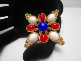 Sarah Coventry Vintage Americana Brooch 1972 Red White Blue  - $13.30
