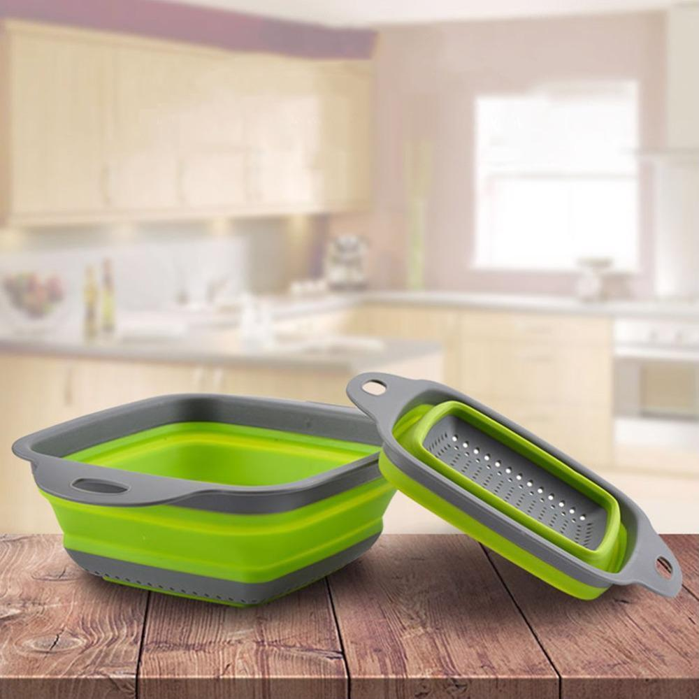 Practical 2PCS/SET Foldable Soft Silicone Collapsible Colander Fruit Vegetable