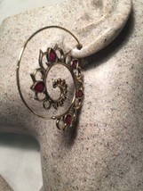 Vintage Genuine Red Carnelian Golden Bronze Earrings - $44.55