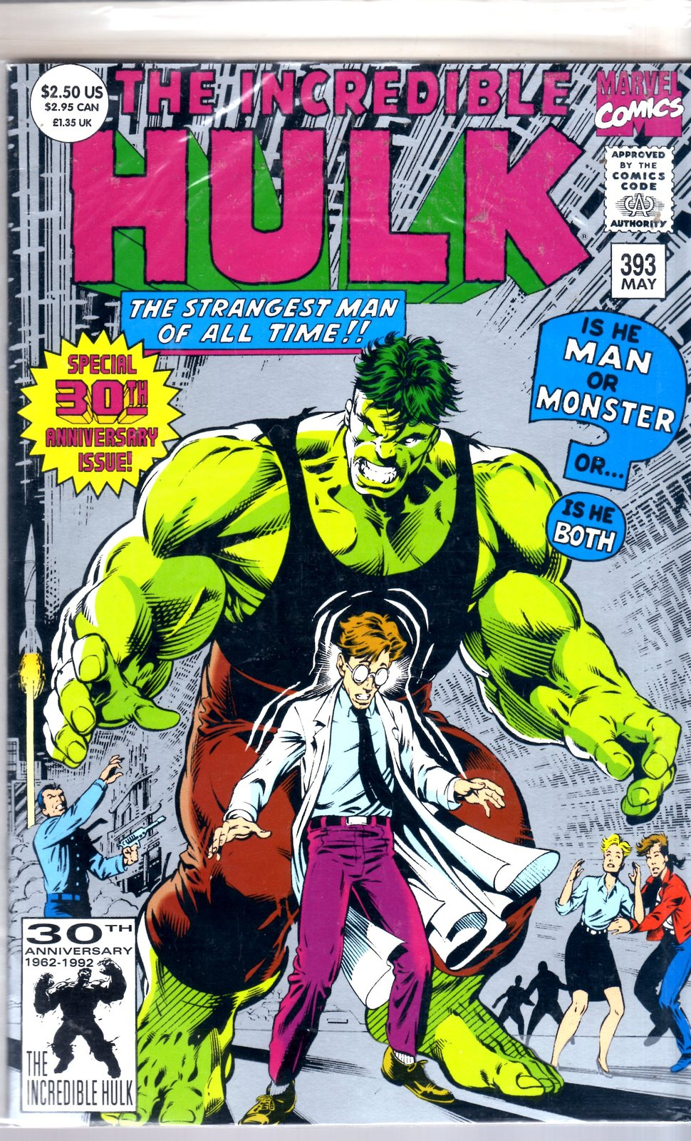 Marvel Comics -  INCREDIBLE HULK #393  30TH ANNIVERSARY ISSUE  (1992)