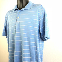 NIKE GOLF T-SHIRT MENS SHORT SLEEVE SHIRT BLUE WHITE STRIPES DRI DRY FIT... - $17.82