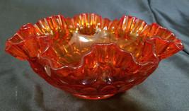 Vintage Fenton Colonial Orange Thumbprint Ruffled Round Bowl (circa 1960s) - $24.75