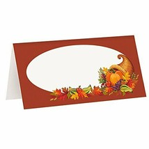 Pack of 16 Fall Harvest Cornucopia Thanksgiving Autumn Festival Place Cards - $3.13