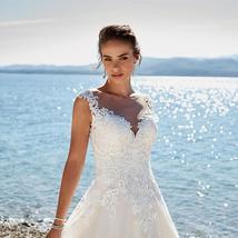 Lace Applique Sleeveless Illusion Vintage Beach Wedding image 3
