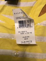 NWT Ralph Lauren Girl's Yellow & White Striped Sleeveless Shirt - Large 12/14 image 7