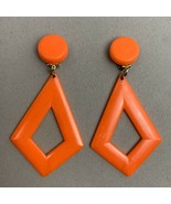 Big Plastic Bright Orange Dangle Clip On Earrings Marked Hong Kong State... - $14.22