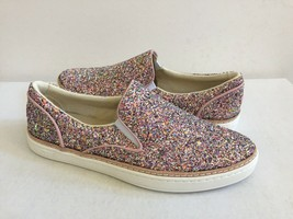UGG ADLEY CHUNKY GLITTER CONFETTI PINK LEATHER SNEAKERS US 6.5 / EU 37.5... - $79.48
