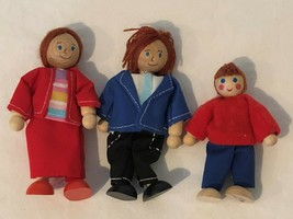 Wooden Doll House Family Lot of 3 Miniature People Dolls Toy Mom Dad Boy - $9.99