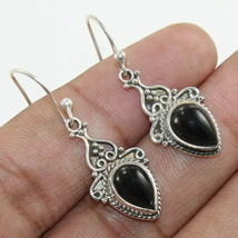 """BLACK ONYX Pure 925 Solid Sterling Silver Jewelry EARRING Size 1.25"""" RK1359 - $33.16"""