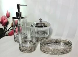 Bella Lux Glass Chrome Lace Filigree Rhinestone Soap Dish Tray Tumbler U... - $25.24+