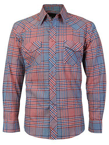 LW Men's Western Cowboy Pearl Snap Long Sleeve Cotton Rodeo Dress Shirt (Small,