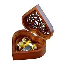 WESTONETEK Heart Shape Vintage Wood Carved Mechanism Musical Box Wind Up... - $16.25