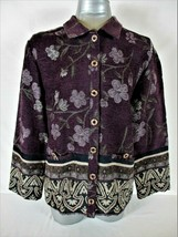 SAG HARBOR womens Sz 8P L/S multicolor TAPESTRY button down jacket (B2) - $49.88