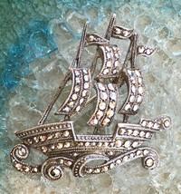 Vintage Estate Sale Sailboat Ship Marcasite Brooch - $29.00