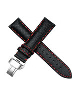 21mm Black Leather Red Stitching Watch Band Strap Fit For Longines L6821... - $37.39