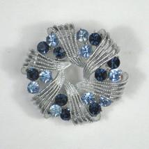 Coro Brooch Silvertone Pin Blue Rhinestones 2 Inches Swirl Ribbon Signed... - $39.59