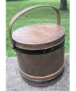 Antique Large Wooden Firkin Sugar Bucket Pail Shaker Swing Handle Lid Fa... - $89.09