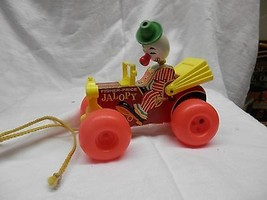 fisher price jalopy wooden pull toy wood clown vintage toy - $29.99