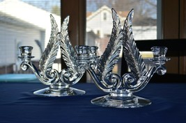 Fostoria Glass Plume Feather Duo Light Candle Stick Holders Line #2636 - $89.10