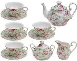 Gracie China by Coastline Imports Blue Cottage Rose Chintz 11-Piece Tea Set - $92.64
